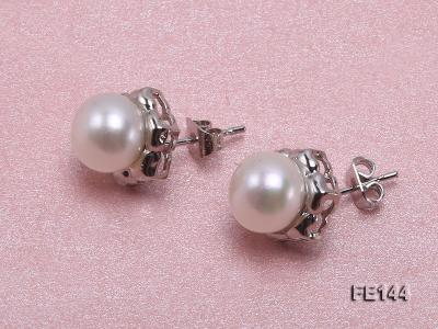 8-9mm White Flat Cultured Freshwater Pearl Earrings FE144 Image 2