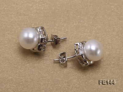 8-9mm White Flat Cultured Freshwater Pearl Earrings FE144 Image 3