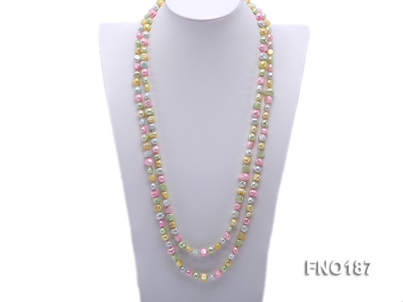 8-9mm multicolor flat freashwater pearl necklace big Image 1