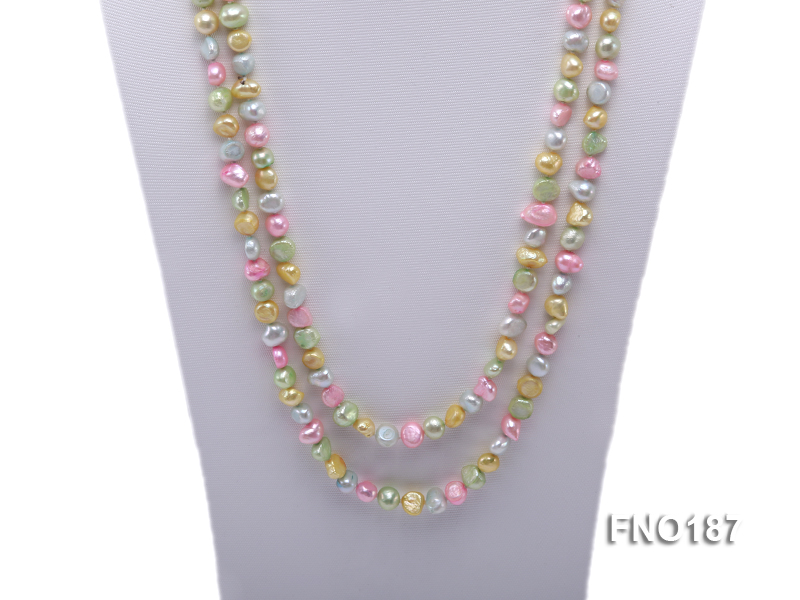 8-9mm multicolor flat freashwater pearl necklace big Image 2