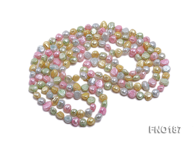 8-9mm multicolor flat freashwater pearl necklace big Image 3