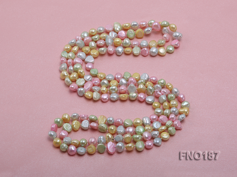 8-9mm multicolor flat freashwater pearl necklace big Image 4