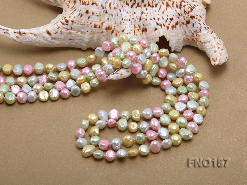 8-9mm multicolor flat freashwater pearl necklace big Image 5