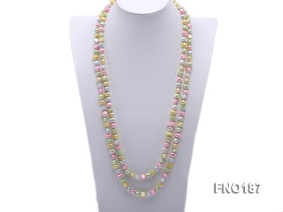 8-9mm multicolor flat freashwater pearl necklace FNO187 Image 1