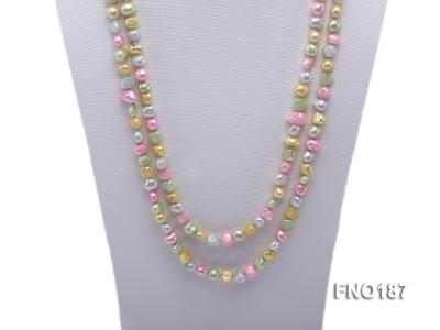 8-9mm multicolor flat freashwater pearl necklace FNO187 Image 2