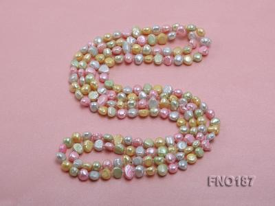 8-9mm multicolor flat freashwater pearl necklace FNO187 Image 4