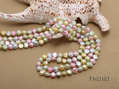 8-9mm multicolor flat freashwater pearl necklace FNO187 Image 5