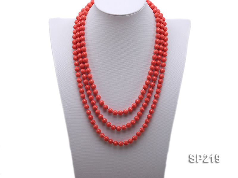 8mm super long Coral-red seashell necklace big Image 1
