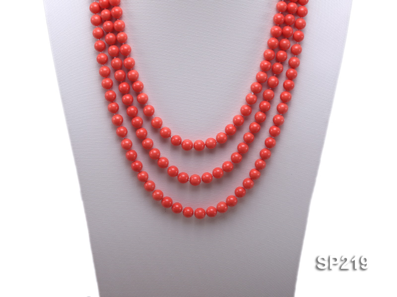 8mm super long Coral-red seashell necklace big Image 2