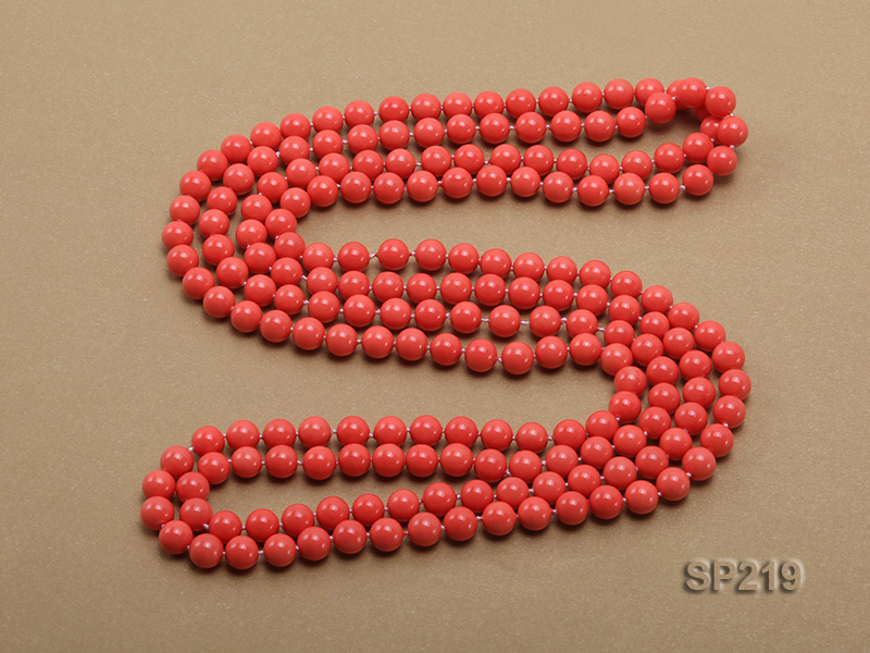 8mm super long Coral-red seashell necklace big Image 4
