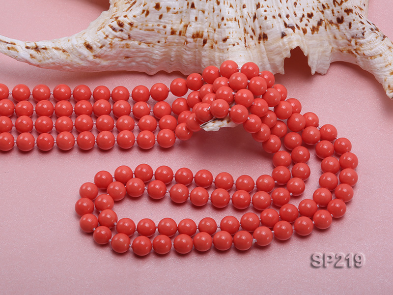 8mm super long Coral-red seashell necklace big Image 5