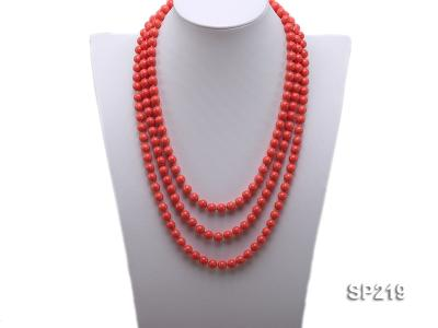 8mm super long Coral-red seashell necklace SP219 Image 1