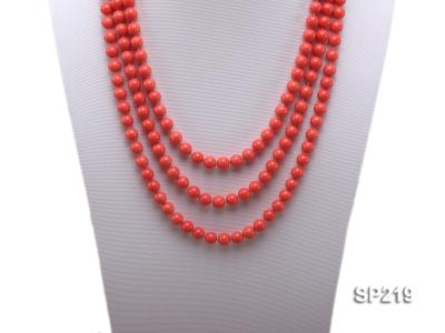 8mm super long Coral-red seashell necklace SP219 Image 2