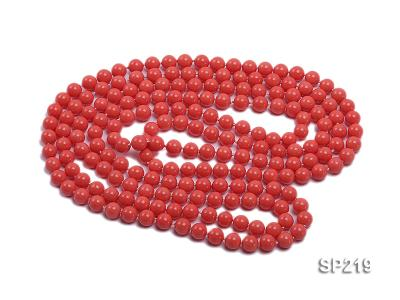 8mm super long Coral-red seashell necklace SP219 Image 3