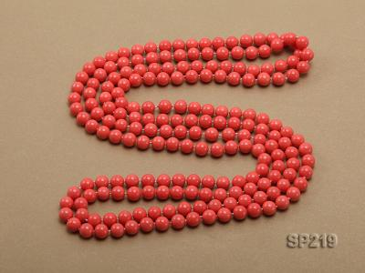 8mm super long Coral-red seashell necklace SP219 Image 4