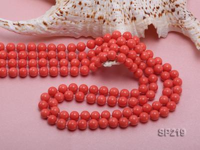 8mm super long Coral-red seashell necklace SP219 Image 5
