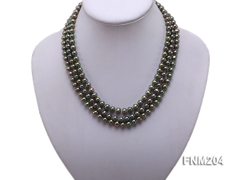 3 strand 6-7mm dark green round freshwater pearl necklace  big Image 1