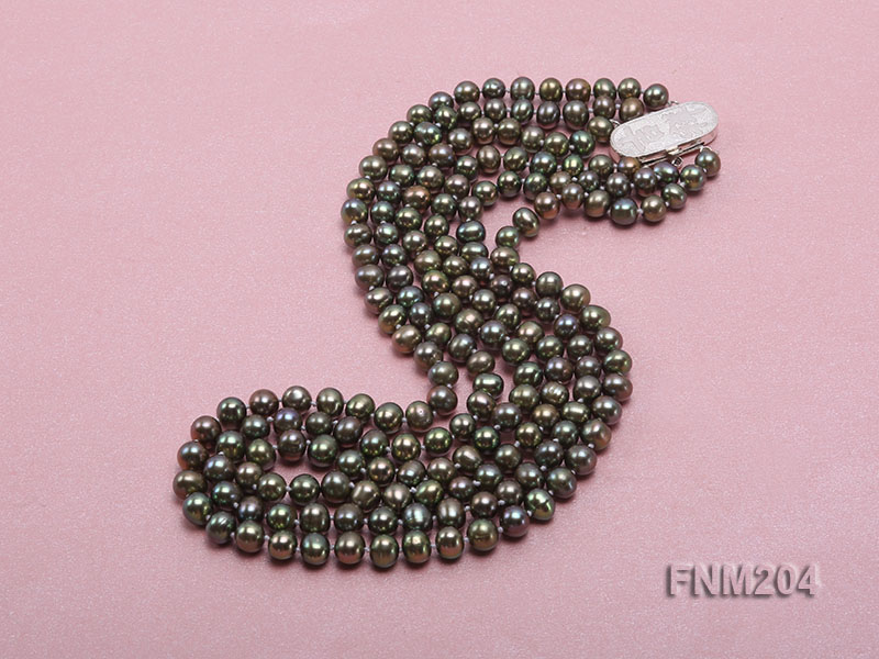 3 strand 6-7mm dark green round freshwater pearl necklace  big Image 3