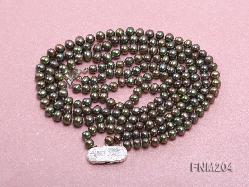 3 strand 6-7mm dark green round freshwater pearl necklace  big Image 4