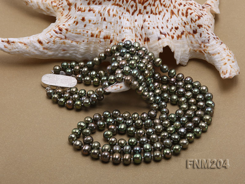 3 strand 6-7mm dark green round freshwater pearl necklace  big Image 5