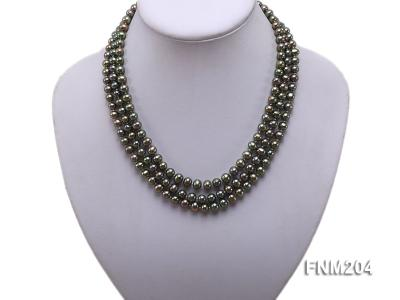 3 strand 6-7mm dark green round freshwater pearl necklace  FNM204 Image 1