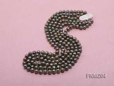 3 strand 6-7mm dark green round freshwater pearl necklace  FNM204 Image 3