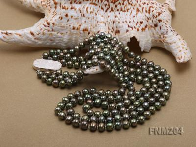 3 strand 6-7mm dark green round freshwater pearl necklace  FNM204 Image 5