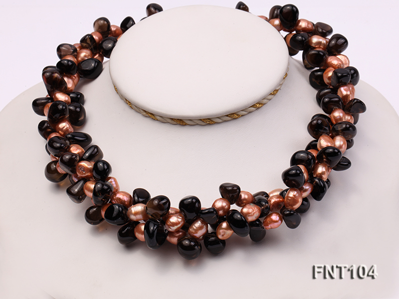 7x9mm Orange Freshwater Pearl and Smoky Quartz Beads Necklace and Earrings Set big Image 2