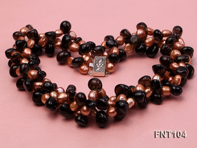 7x9mm Orange Freshwater Pearl and Smoky Quartz Beads Necklace and Earrings Set big Image 5