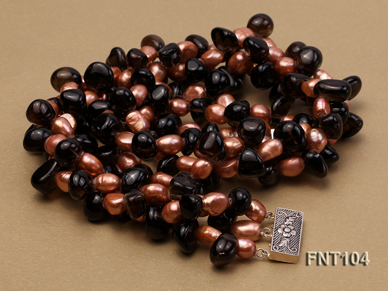 7x9mm Orange Freshwater Pearl and Smoky Quartz Beads Necklace and Earrings Set big Image 6
