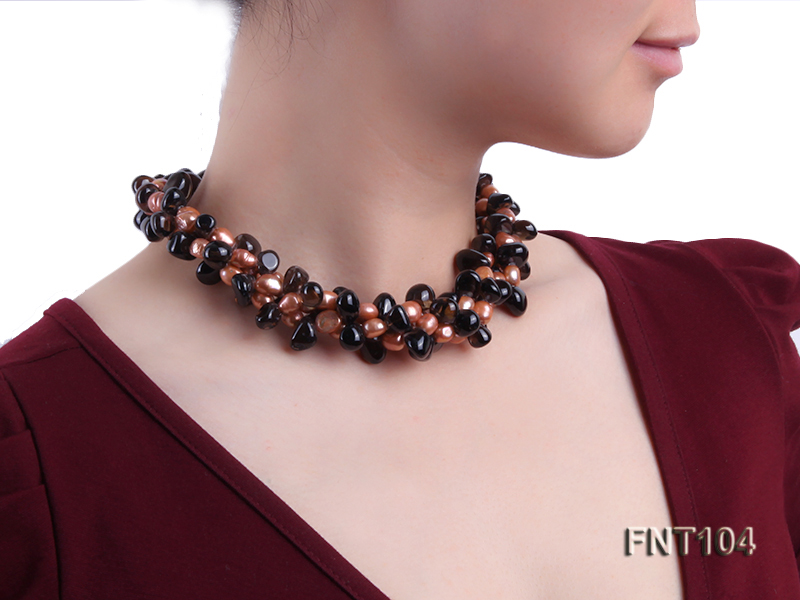 7x9mm Orange Freshwater Pearl and Smoky Quartz Beads Necklace and Earrings Set big Image 8