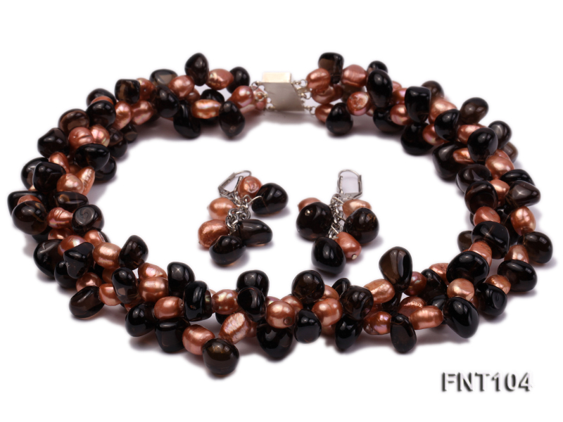 7x9mm Orange Freshwater Pearl and Smoky Quartz Beads Necklace and Earrings Set big Image 1