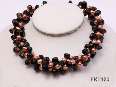 7x9mm Orange Freshwater Pearl and Smoky Quartz Beads Necklace and Earrings Set FNT104 Image 2