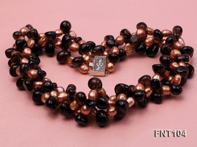 7x9mm Orange Freshwater Pearl and Smoky Quartz Beads Necklace and Earrings Set FNT104 Image 5