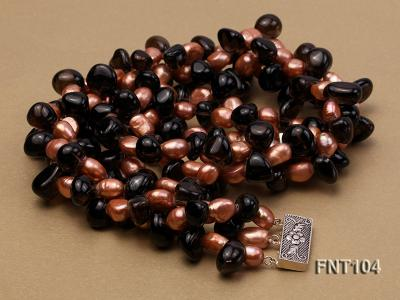 7x9mm Orange Freshwater Pearl and Smoky Quartz Beads Necklace and Earrings Set FNT104 Image 6