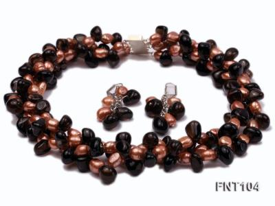 7x9mm Orange Freshwater Pearl and Smoky Quartz Beads Necklace and Earrings Set FNT104 Image 1