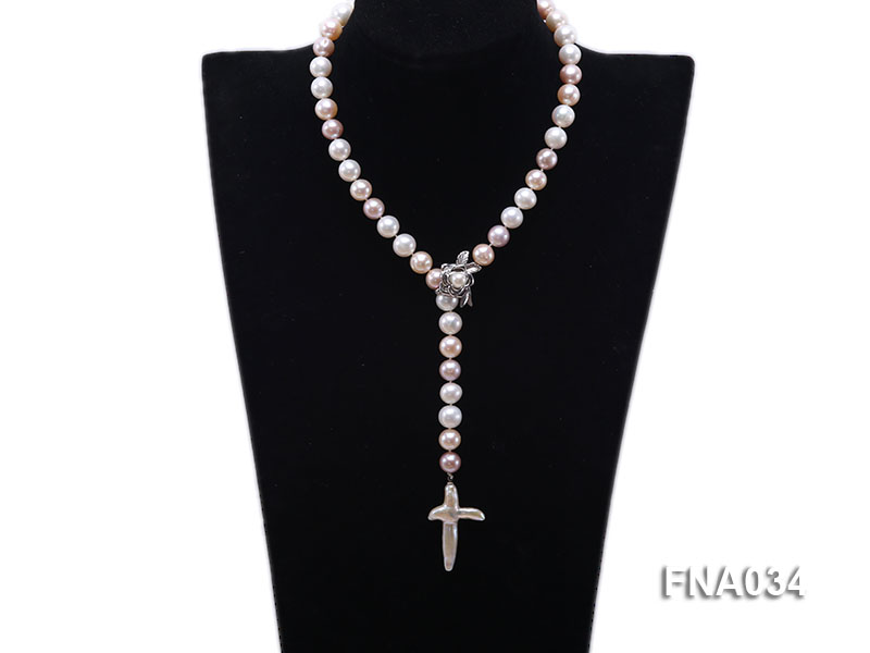 Classic White, Pink and Lavender Freshwater Pearl Necklace with a Cross-shaped Pendant big Image 1
