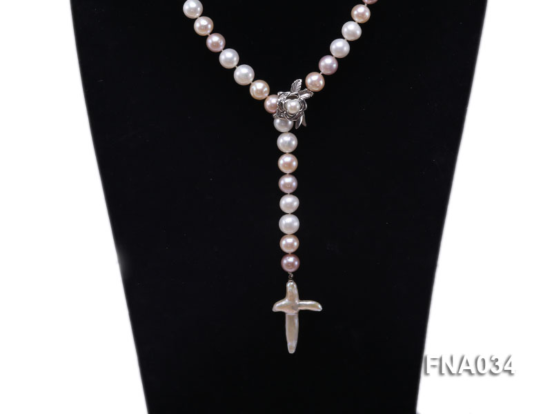 Classic White, Pink and Lavender Freshwater Pearl Necklace with a Cross-shaped Pendant big Image 2