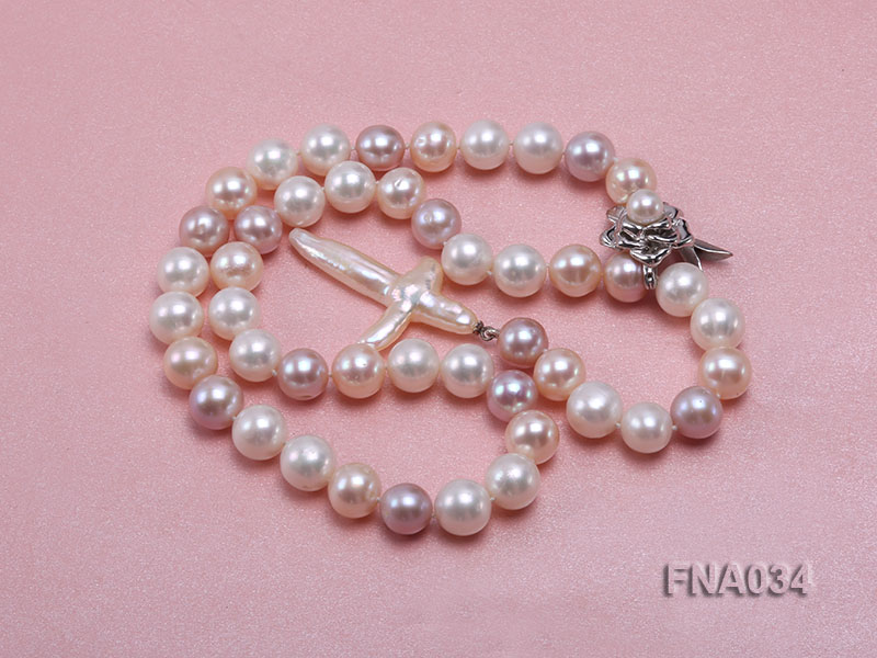 Classic White, Pink and Lavender Freshwater Pearl Necklace with a Cross-shaped Pendant big Image 3