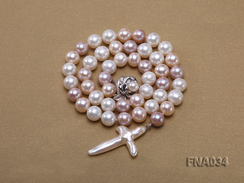 Classic White, Pink and Lavender Freshwater Pearl Necklace with a Cross-shaped Pendant big Image 4