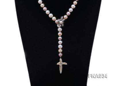 Classic White, Pink and Lavender Freshwater Pearl Necklace with a Cross-shaped Pendant FNA034 Image 2