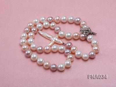 Classic White, Pink and Lavender Freshwater Pearl Necklace with a Cross-shaped Pendant FNA034 Image 3