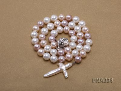 Classic White, Pink and Lavender Freshwater Pearl Necklace with a Cross-shaped Pendant FNA034 Image 4