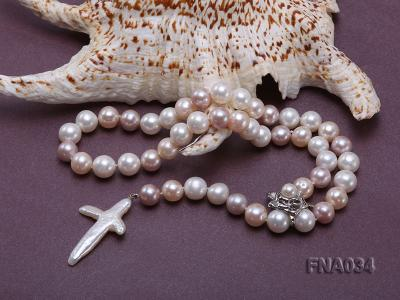Classic White, Pink and Lavender Freshwater Pearl Necklace with a Cross-shaped Pendant FNA034 Image 5