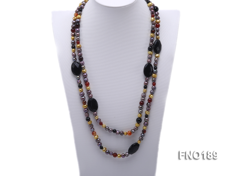 7-8mm multi-color freshwater pearl with carved black agate and crystal necklace big Image 1