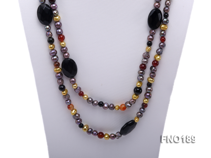 7-8mm multi-color freshwater pearl with carved black agate and crystal necklace big Image 2