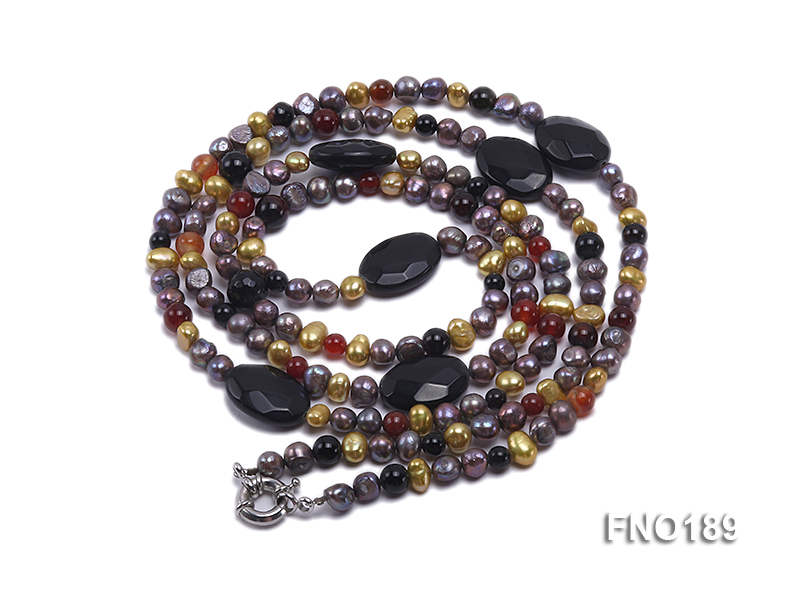 7-8mm multi-color freshwater pearl with carved black agate and crystal necklace big Image 3