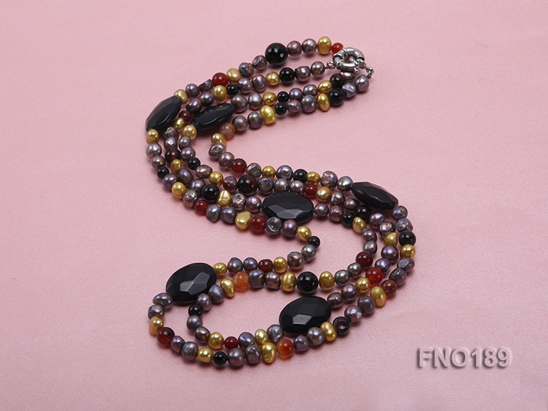 7-8mm multi-color freshwater pearl with carved black agate and crystal necklace big Image 4