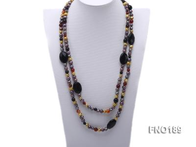 7-8mm multi-color freshwater pearl with carved black agate and crystal necklace FNO189 Image 1