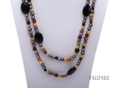 7-8mm multi-color freshwater pearl with carved black agate and crystal necklace FNO189 Image 2